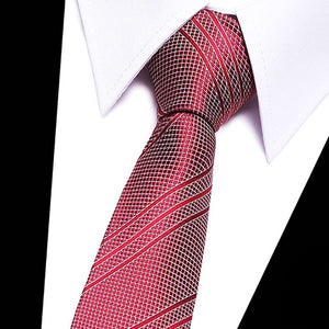 Classy Men Red Silver Striped Silk Tie