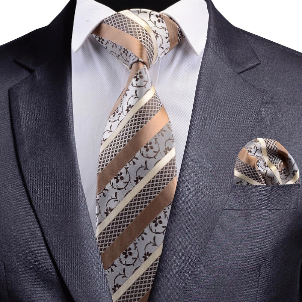 Classy Men Gold Striped Floral Silk Necktie