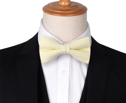 Classy Men Light Yellow Cotton Pre-Tied Bow Tie