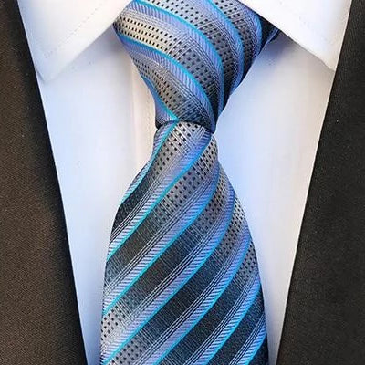 Classy Men Elegant Blue Striped Silk Tie