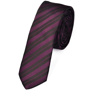 Classy Men Skinny Purple Striped Tie