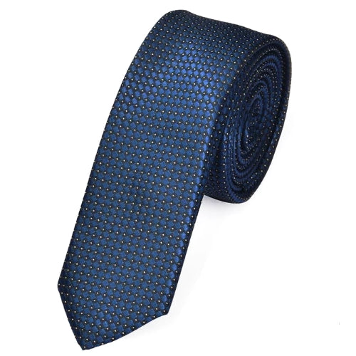 Classy Men Skinny Blue Dotted Tie