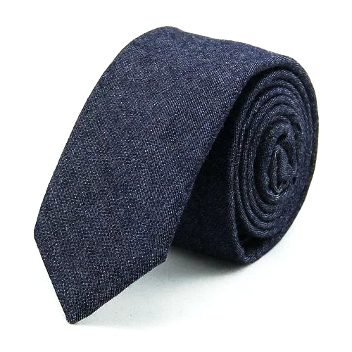 Classy Men Dark Blue Denim Cotton Skinny Tie
