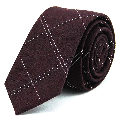 Classy Men Burgundy Checkered Cotton Skinny Tie