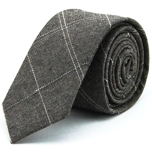 Classy Men Grey Checkered Cotton Skinny Tie
