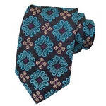 Classy Men Black Turquoise Floral Silk Tie - Classy Men Collection