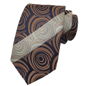 Classy Men Brown Spiral Silk Tie - Classy Men Collection