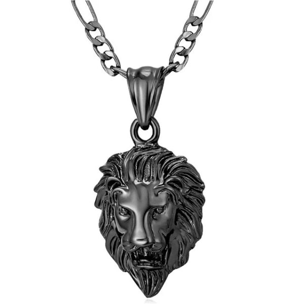 Classy Men Black King Lion Pendant Necklace