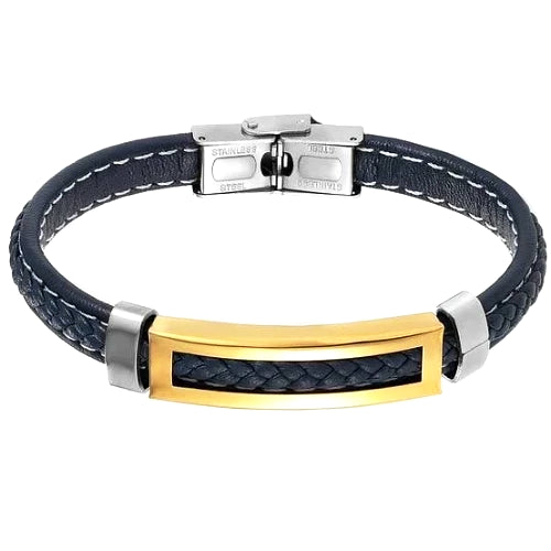 Classy Men Blue Gold Leather Band Bracelet