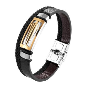 Classy Men Gold Leaf Leather Band Bracelet