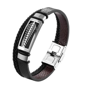 Classy Men Silver Leaf Leather Band Bracelet