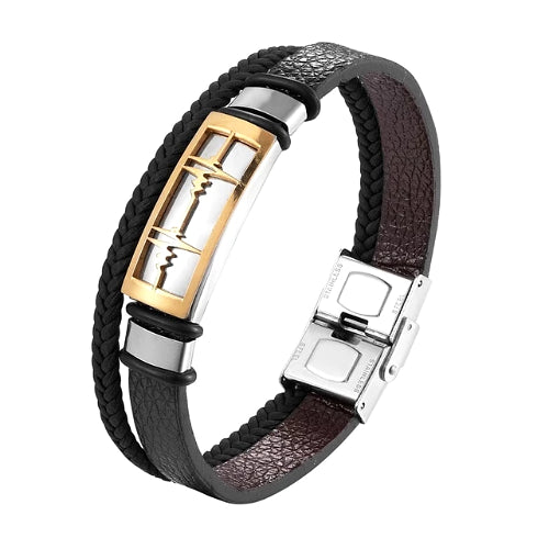 Classy Men Gold Heartbeat Leather Band Bracelet