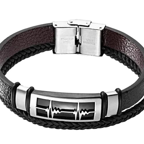 Classy Men Silver Heartbeat Leather Band Bracelet