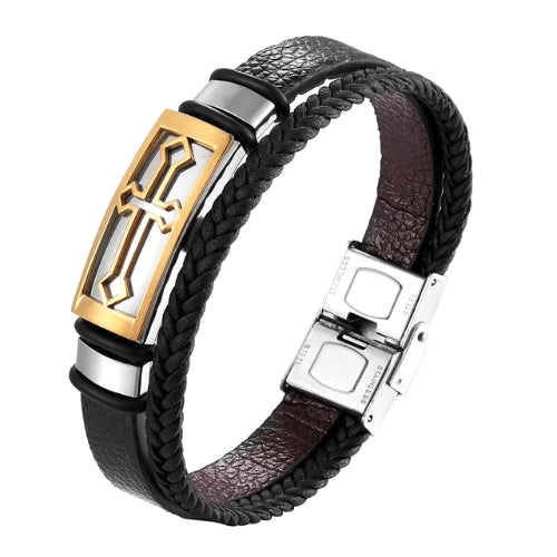 Classy Men Gold Cross Leather Band Bracelet
