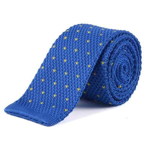 Classy Men Blue Yellow Dot Square Knit Tie