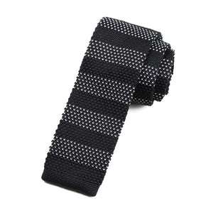 Classy Men Black Dot Striped Square Knit Tie