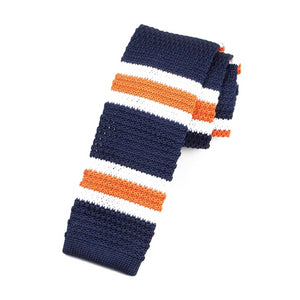 Classy Men Blue Orange Striped Square Knit Tie