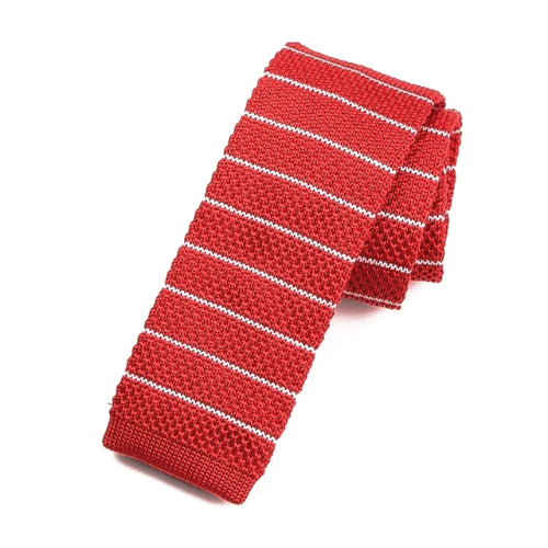 Classy Men Red Striped Square Knit Tie