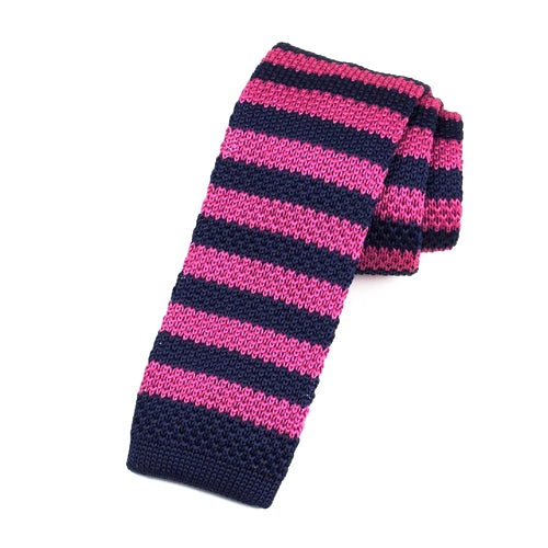 Classy Men Pink Navy Blue Square Knit Tie