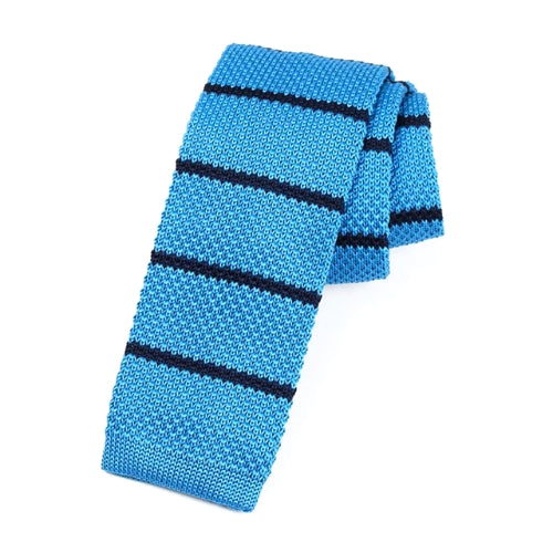 Classy Men Sky Blue Striped Square Knit Tie