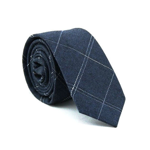 Classy Men Blue Checkered Cotton Skinny Tie
