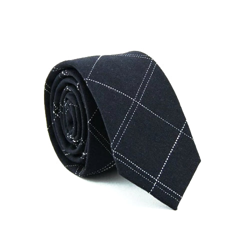 Classy Men Dark Blue Checkered Cotton Skinny Tie