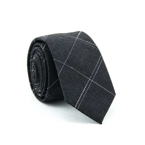 Classy Men Dark Grey Checkered Cotton Skinny Tie