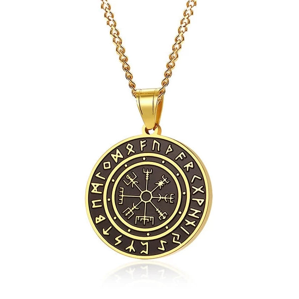 Classy Men Black Gold Coin Pendant Necklace
