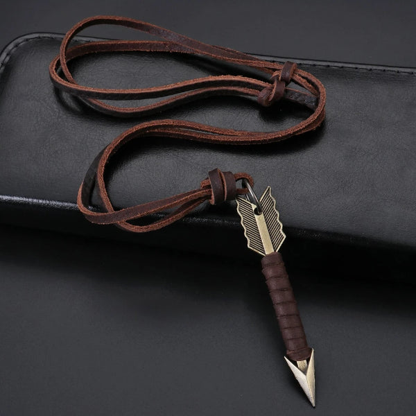 Arrow pendant with brown leather necklace for men