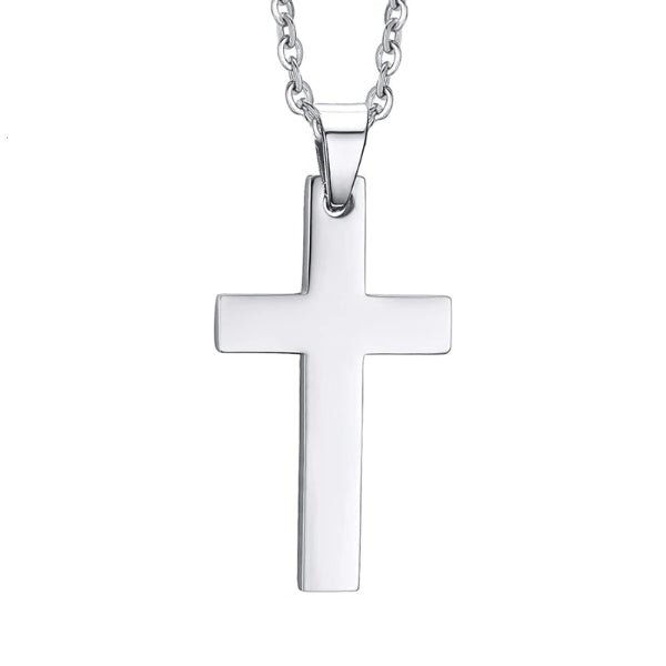 Classy Men Silver Small Christian Cross Pendant Necklace