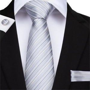 Classy Men Grey White 3D Striped Silk Tie