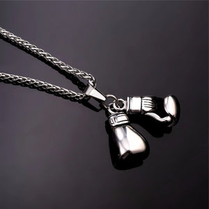 Detail image of silver boxing gloves pendant necklace