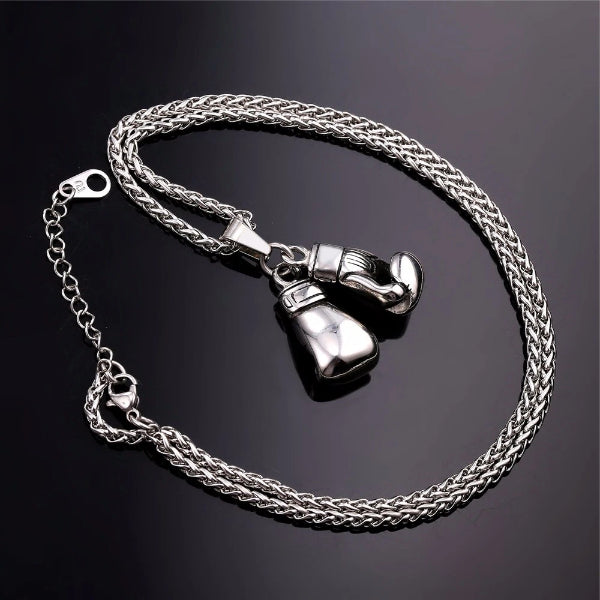 Silver boxing gloves pendant and silver chain