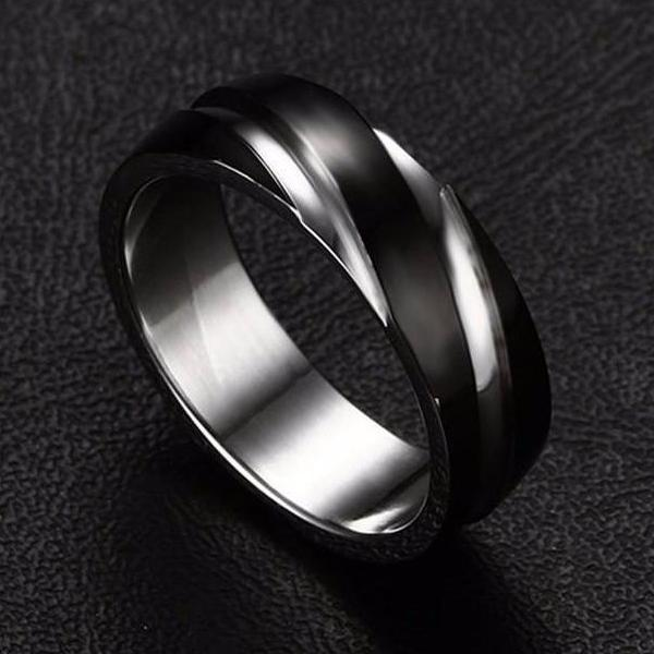 Classy Men Black Stainless Steel Ring - Classy Men Collection