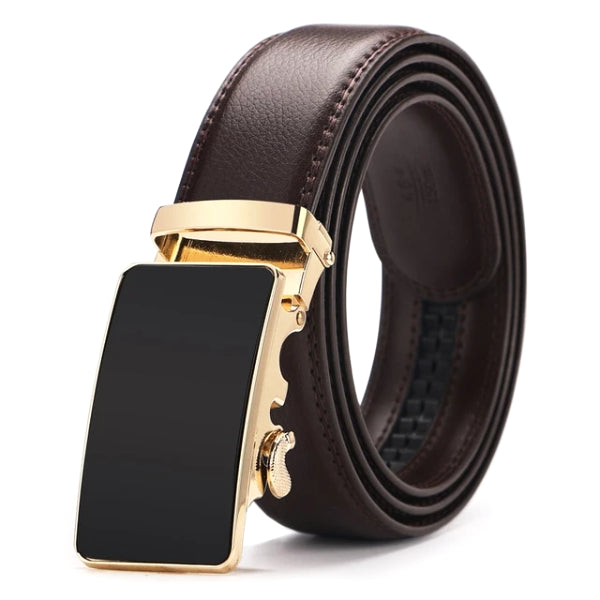 Classy Men Brown & Gold Leather Suit Belt
