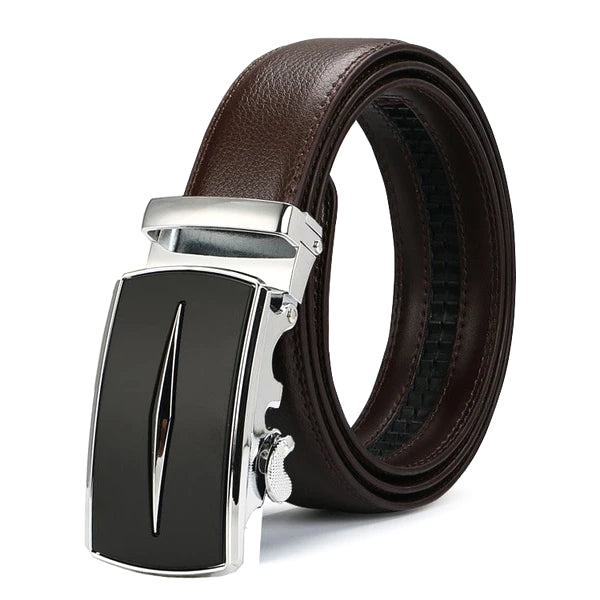 Classy Men Brown & Silver Leather Suit Belt