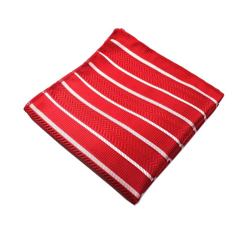 Classy Men Pocket Square Striped Red