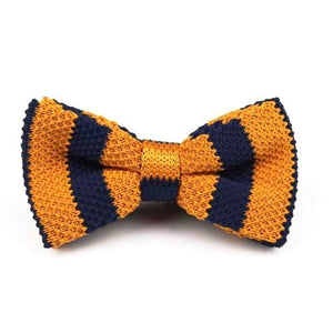 Classy Men Knitted Bow Tie Navy/Yellow - Classy Men Collection