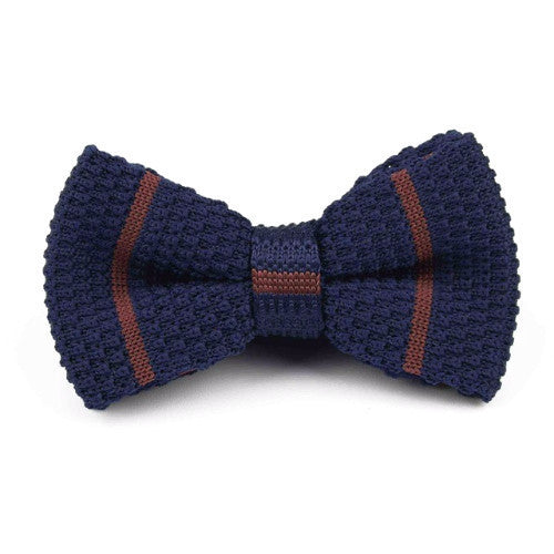Classy Men Knitted Bow Tie Navy/Brown - Classy Men Collection