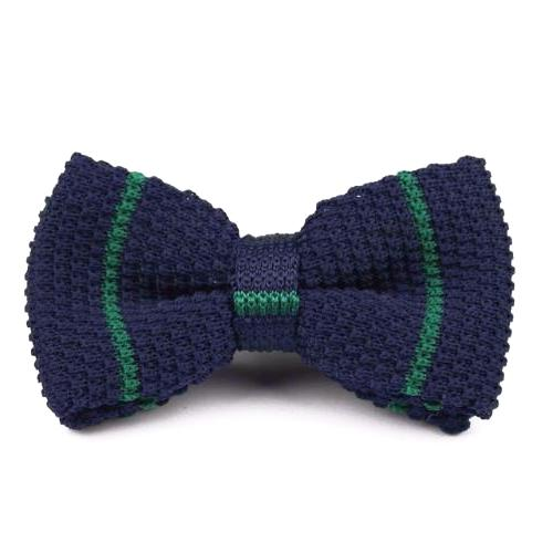 Classy Men Knitted Bow Tie Navy/Green - Classy Men Collection