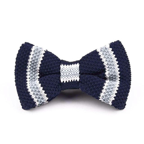 Classy Men Knitted Bow Tie Navy/Grey - Classy Men Collection