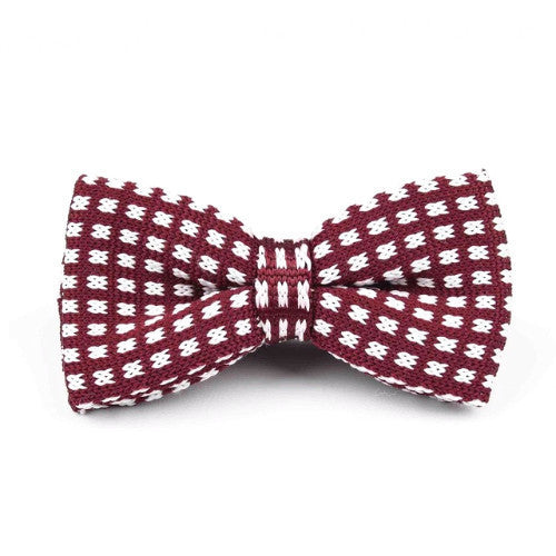 Classy Men Knitted Bow Tie Red/White - Classy Men Collection