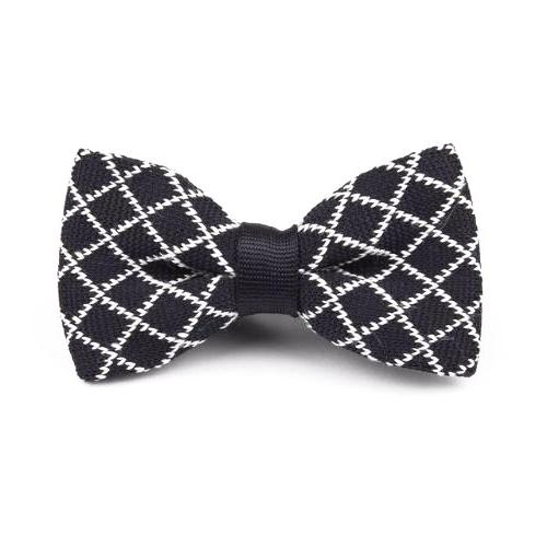 Classy Men Knitted Bow Tie Black/White - Classy Men Collection