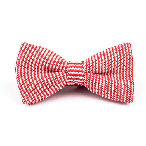 Classy Men Knitted Bow Tie Red Striped - Classy Men Collection