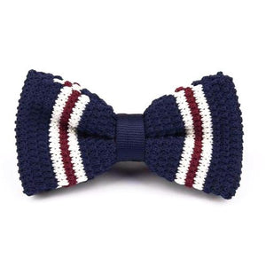 Classy Men Knitted Bow Tie Navy/White - Classy Men Collection
