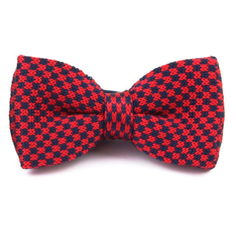 Classy Men Knitted Bow Tie Red/Navy - Classy Men Collection