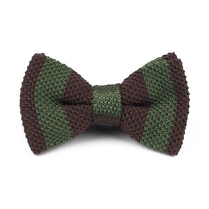 Classy Men Knitted Bow Tie Brown/Olive - Classy Men Collection