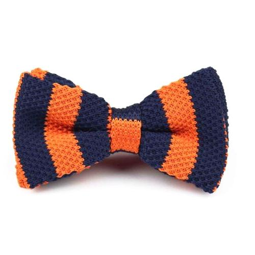 Classy Men Knitted Bow Tie Navy/Orange - Classy Men Collection