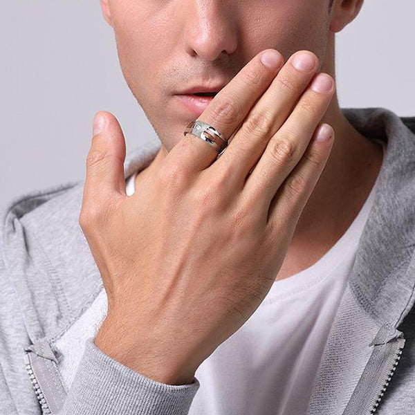 Classy Men CZ Wood Inlay Ring - Classy Men Collection