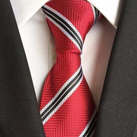 Classy Men Red White Striped Silk Tie